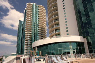 Turquoise Place towers seen from the ground